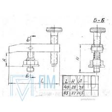 Прижим-качалка  40х 28х 7,5 с резьбовым концом стержня М8 (ДСПМ8-08)